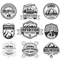 Vector set of camping objects isolated on white background. Travel icons and emblems. Adventure outdoor labels