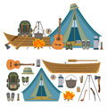 Vector set of camping objects and tools isolated on white background. Royalty Free Stock Photo