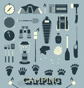 Vector set camping and outdoors icons and symbols collection of outdoor objects graphics Royalty Free Stock Images