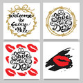 Vector set of cards with lipstic kisses , frames, stripes, dots. Red, Golden,Black, White. Royalty Free Stock Photo