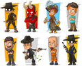 Vector set of cartoon bad guys characters