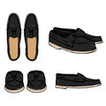 Vector Set of Cartoon Black Topsider Men Shoes.
