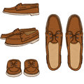 Vector Set of Cartoon Brown Topsider Men Shoes.