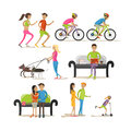 Vector set of cartoon characters on white background. People in park design elements and icons in flat style