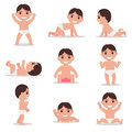 Vector set cartoon child toddler. Baby learns walk