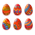 Vector set of cartoon color eggs for Easter