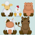 Vector set of cartoon cute farm animals a Royalty Free Stock Images