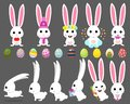 Vector set cartoon illustration of cute rabbit and bunny with carrot, bow, easter egg, heart, chicken,