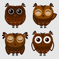 Vector set of cartoon owls illustration Royalty Free Stock Photo