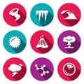 Vector Set of Cataclysm Icons. Tornado, Frost, Tsunami, Drought, Eruption, War, Weather, Virus, Earthquake.