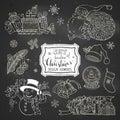 Vector set of chalk doodles Christmas design elements on blackboard background. Royalty Free Stock Photo