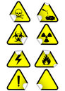 Vector set of chemical warning signs on stickers. Royalty Free Stock Photos