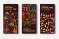 Vector Set Of Chocolate Bar Package Designs With Fun Party Decor Hearts, Bows, Flags Patterns. Milk, Dark, Almond