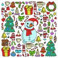 Vector set of Christmas, holiday icons in doodle style. Painted, colorful, pictures on a piece of linear paper on white