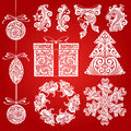 Vector set Christmas ornate illustrations, design elements, objects. Royalty Free Stock Photo