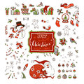 Vector set of Christmas signs, symbols, decorations and design elements on white background. Royalty Free Stock Photo