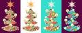 Vector set of christmas trees. Royalty Free Stock Photo