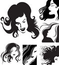 Vector set of closeup portrait of beautiful woman Royalty Free Stock Images