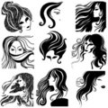 Vector set of closeup portraits Royalty Free Stock Images