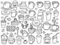 Vector set of coffee doodle