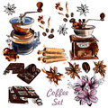 Vector set with coffee grinder anis stars and roasted beans in Royalty Free Stock Photo
