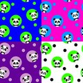 Seamless pattern with kawaii panda. Vector illustration.