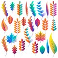 Vector set of color gradients autumn leaves. Fantasy plants icons and design elements. Fall cartoon illustration