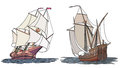 Vector set of color ship with sails for icons artistic illustrations sailing ships the th century Royalty Free Stock Image