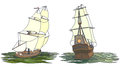 Vector set of color ship with sails for icons artistic illustrations sailing ships the th century Royalty Free Stock Photography