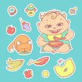 Vector set of color sketch illustrations stickers happy child and kitten. Apples, bananas, mush and other baby food. The Royalty Free Stock Photo