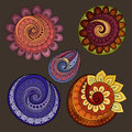 Vector Set of Colored Contour Floral Doodles Royalty Free Stock Photo