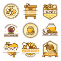 Vector set of colored honey labels, bee badges and design elements. Apiary logo template. Outline flat consept style