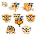 Vector set of colored honey logos, labels, badges and design ele