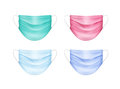 Vector Set of Colored Medical Face Ear Loop Mask Royalty Free Stock Photo