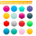 Vector set of colorful badges with smooth blurred shadows for your design Stock Photography