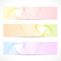 Vector set colorful banners curve pattern horizontal abstract background with line guilloche wave tracery contemporary graphic Stock Image
