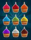 Vector set colorful birthday cupcakes Royalty Free Stock Image