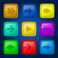 Vector set colorful buttons of glossy colored with arrows Royalty Free Stock Photo