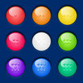 Vector set colorful buttons of glossy on dark background Royalty Free Stock Photos