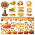 Vector set of colorful cartoon elements for Thanksgiving day.