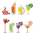 Vector set of colorful illustration of cocktails with fruits, coffee with grains, beer and wine glass Royalty Free Stock Photo
