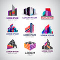 Vector set of colorful, modern office, company Royalty Free Stock Photo
