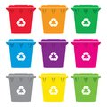 Vector set of colorful recycling wheelie bin icons