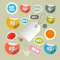 Vector set of colorful retro paper discount labels tags Royalty Free Stock Photos
