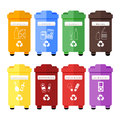 Vector set of colorful trash sorting bins for plastic, paper, glass, metal, organic, batteries, light bulbs and e-waste