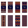 Vector set of colorful vertical banners for business and invitation. Ethnic tribal ornaments. Boho style