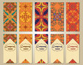 Vector set of colorful vertical banners for business and invitation. Portuguese, Talavera, Moroccan; Arabic; asian ornaments