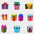 Vector set of colourful gift boxes isolated on transparent background. Royalty Free Stock Photo