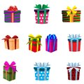 Vector set of colourful gift boxes isolated on white background. Royalty Free Stock Photo