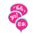 Vector set of comic speech bubbles. Hand drawn set of comic quotes balloons with text. Royalty Free Stock Photo